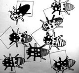positive/negative reversal insect drawings