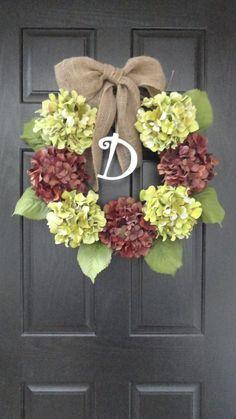 "24"" Year Round Green and Blue, Purple, or Brown Hydrangea Wreath, Summer, Wreath, Fall Wreath, Spring Wreath, With Initial Monogram. $49.00, via Etsy."