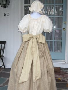 Womens Prairie Pioneer Colonial Dress Costume Skirt Mob Cap Sash Muslin Civil War Frontier. $69.99, via Etsy.