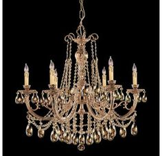 "View the Crystorama Lighting Group 476-GT-MWP Etta 6 Light 28"" Wide Cast Brass Candle Style Chandelier with Golden Teak Hand Cut Crystal at LightingDirect.com."