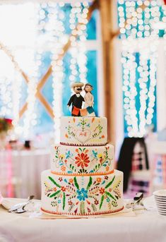 colorful wedding cake in Mexican style