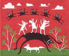 Fox Art Print, Black Cats, White Dogs RED ART. $17.00, via Etsy.