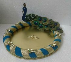 Jewerly box paper crafts ideas for 2019 Engagement Ring Platter, Engagement Ring Holders, Engagement Gifts, Desi Wedding Decor, Indian Wedding Decorations, Wedding Crafts, Wedding Gift Baskets, Wedding Gift Wrapping, Coconut Decoration