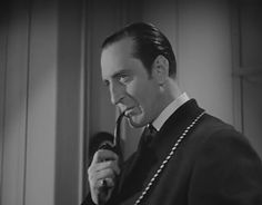 Basil Rathbone as Sherlock Holmes in 'The Hound of the Baskervilles' (1939). Directed by Sidney Lanfield. Screenplay by Ernest Pascal. Based on the novel of the same name by Arthur Conan Doyle. #SherlockHolmes #BasilRathbone #NousheensQuestion #PrivateInvestigator #ConsultingDetective
