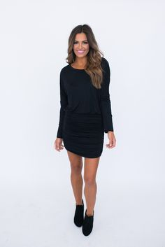 Long Sleeve Ruched Bottom Dress- Black - Dottie Couture Boutique