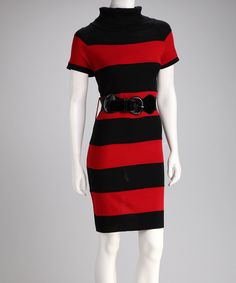 Take a look at this Red & Black Stripe Belted Sweater Dress on zulily today!
