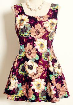 Purple Sleeveless Floral Print Pleated Dress 26.50