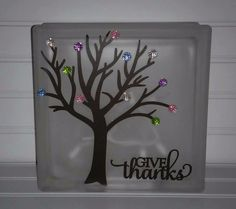 Colorful Tree Thanksgiving Give Thanks Glass Block Painted Glass Blocks, Decorative Glass Blocks, Lighted Glass Blocks, Crafts With Glass Jars, Glass Block Crafts, Glass Cube, Glass Boxes, Homemade Christmas Gifts, Christmas Crafts
