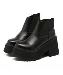 leather black massive platform boots