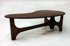 Mid Century Modern Coffee Cocktail Table Trident Base  - Solid Walnut - Kidney Bean Shaped - Atomic Era Don Draper Biomorphic cocktail table