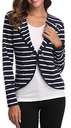 ea45680a MISS MOLY Womens Vnect Long Sleeve Blue Striped Open Blazer Work Office  Front Stripes Jacket Blazers