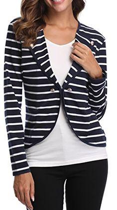 b44770fc0d9fb MISS MOLY Womens Vnect Long Sleeve Blue Striped Open Blazer Work Office  Front Stripes Jacket Blazers