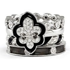 Sterling Silver Stackable Diamond & CZ Fleur de Lis Ring Set, Women's, Size: 5