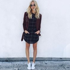 love this combo // plaid dress and leather jacket