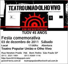 """O Teatro Popular União e Olho Vivo comemora em 2011, seus 45 anos de resistência. É um dos mais antigos grupos de teatro do Brasil. Seu objetivo principal é a troca permanente de experiências culturais com as comunidades carentes da Grande São Paulo. 17:00hs. Abertura Exposição de Projetos de Construção da nova sede do grupo....<br /><a class=""""more-link"""" href=""""https://catracalivre.com.br/geral/agenda/barato/festa-45-anos-de-resistencia-teatro-popular-uniao-e-olho-vivo/"""">Continue lendo »</a>"""