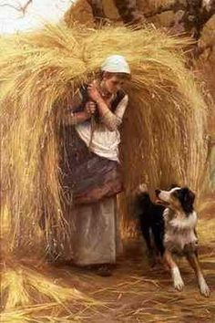Arthur Hacker - Returning from the Hayfield lady  dog
