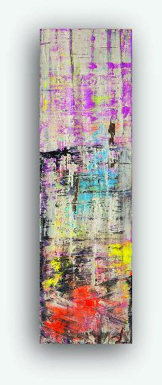 abstract contemporary modern painting orange yellow blue purple violet black white wall art
