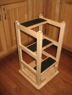 Great for the garage - sit for projects, use stool to reach stuff. A bar stool upside down with added steps.Stan's Hoosier Step Stool Woodworking Plans, Woodworking Projects, Woodworking Videos, Woodworking Machinery, Woodworking Techniques, Woodworking Organization, Woodworking Quotes, Youtube Woodworking, Intarsia Woodworking