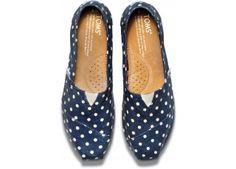 Navy Polka Dot Linen Women's Classics | TOMS.com