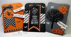 trio of treat bags ... Spooky Fun from cardiologybyjari.com ... crisp designs with die cuts and stamping ... would work well as card fronts too ... Stampin' Up!
