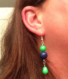 Earrings Seattle Seahawks colors Blue and green by JewelryByTerriB
