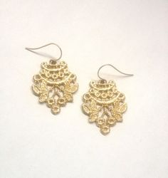 14 Karat Gold Cast Lace Chantilly Earrings by SarahAnaDesigns