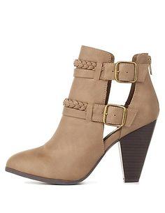 Braided & Belted Chunky Heel Booties: Charlotte Russe #booties