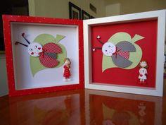 Red and White  handmade shadownbox  set of by AnnMaryConsulDesigns