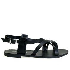 Kiera-04 Black Strappy Flat Gladiator Sandals