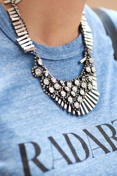 J. Crew choker and THAT t-shirt – more street-spotted accessories after the jump!    #Adorned #Jewelry #StreetStyle