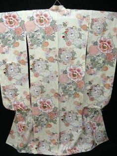 "Large Brand New Cream Silk ""Furisode"" w Dragon Kiku Botan A328 | eBay"