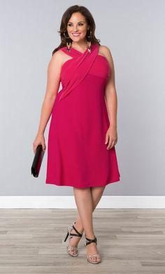 Marina Love Dress, Pink Passion (Women's Plus Size) From the Plus Size Fashion Community at www.VintageandCurvy.com