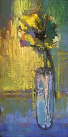 "New Yellow Tulip. 2017. Pastel, Oil & Graphite. 15.5"" x 8."" Casey Klahn."