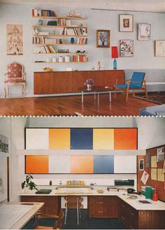 Living room/office: Ameublement et Decoration Modernes, 1961. Shoot dang, what a great color palette. Very vintage style. I love the color blocking over the desk.