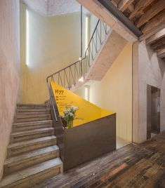Havre Derelict House in Mexico City Transformed into Mixed-Use Venue by Francisco Pardo & Julio Amezcua Derelict House, Modernisme, Urban Fabric, Concrete Structure, Reclaimed Timber, House Stairs, Brick Building, Stairway To Heaven, Exposed Brick