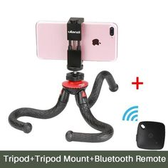 Flexible Octopus Phone Tripod With Metal Phone Holder Adapter Mount Bluetooth Remote Control for iPhone Smartphone Gopro