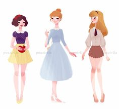 Snow White, Cinderella, Aurora. Pic from FB page, no credit to artist given.