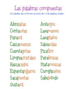 Anchor chart for compound words in Spanish. Freebie.  Very cute, and some great ideas from the TpT website.