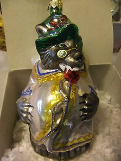 Vintage Kurt Adler Polonaise Glass Christmas Ornament Wolf with Grandma w/ Box
