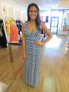 The Buzz Boutique — Walk With Me Maxi Dress In Blue and White Print