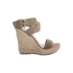 120mm Braided wedge heek. Rounded toe with leather lining. 30mm Braided platform. Crochet cotton straps. Wraparound ankle strap with metal buckle. Leather inne…