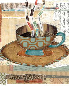 Blue Coffee Cup Art by Lori Siebert, Collage, Mixed Media, Word Art, Whimsical, Colorful, Lori Seibert