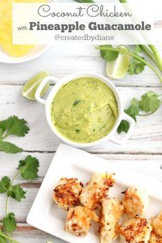 Coconut Chicken  with pineapple guacamole recipe @createdbydiane