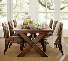 Loving the french doors. Need a natural fiber rug (jute, sisal, seagrass etc) to go with our reclaimed wood dining table Rustic Table, Seagrass Dining Chairs, Seagrass Chairs, Dining Room Design, Pottery Barn Dining Room, Wood Dining Table, Dining Table, Harvest Table Dining Room, Dining Room Table