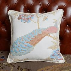 3D peacock decorative pillows for couch elegant sofa cushions