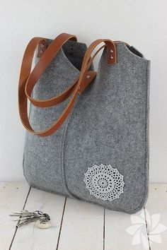 Grey melange Felt Bag Bianca.