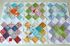 Granny Squares quilt blocks; you could do complimentary colors/rainbow challenge...