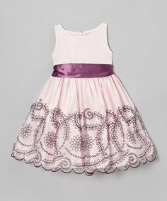 Take a look at this Light Pink & Purple Embroidered Floral Dress - Toddler & Girls by S Square on #zulily today!