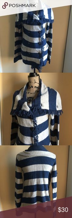 Free People Sweater Free People Striped button sweater with frills. Pre loved but still in excellent condition. No flaws but has some pilling Free People Sweaters Cardigans