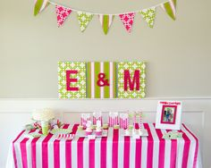 Everything you need for a preppy pink and green bridal shower, all in one box and delivered to your door!